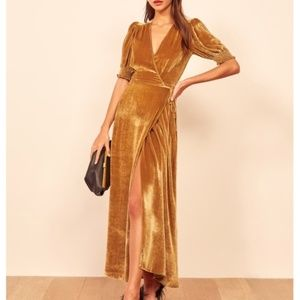 Reformation Peonie Maxi Dress - Gold  XS NWT